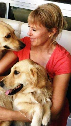 Goldens with human